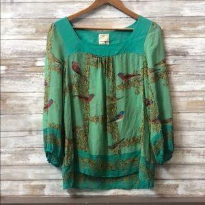 Vanessa Virginia Anthropology Green Bird Shirt s12